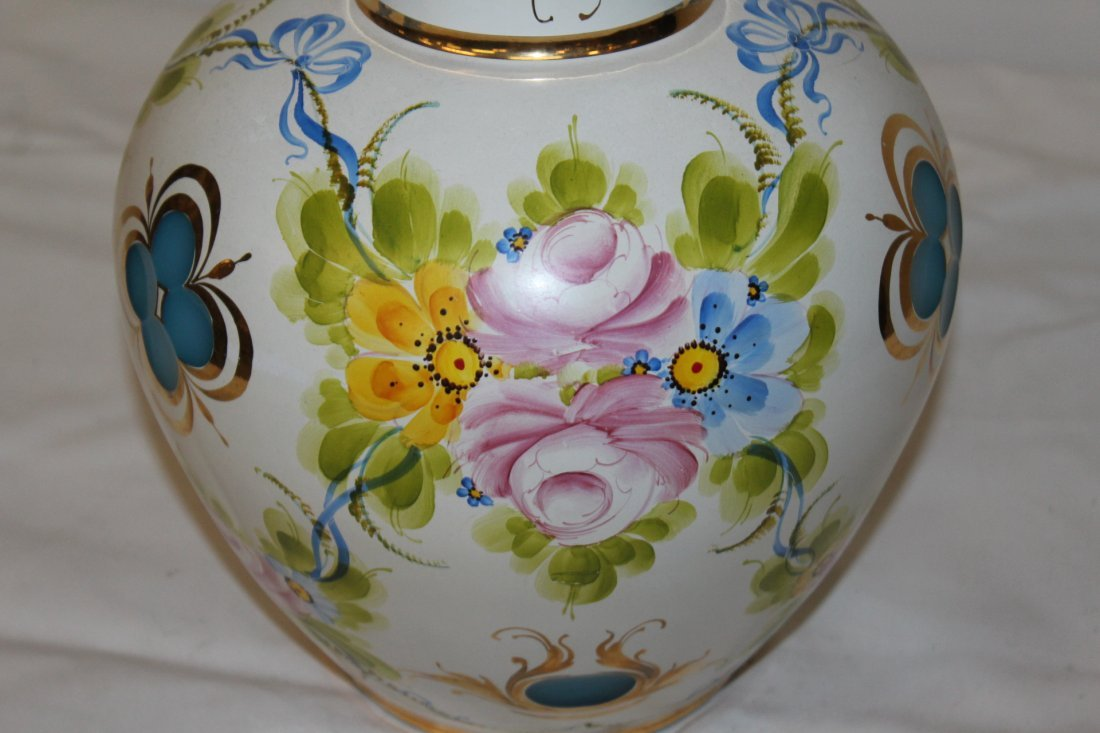 Murano Hand Painted Large art Glass Vase Signed - 5