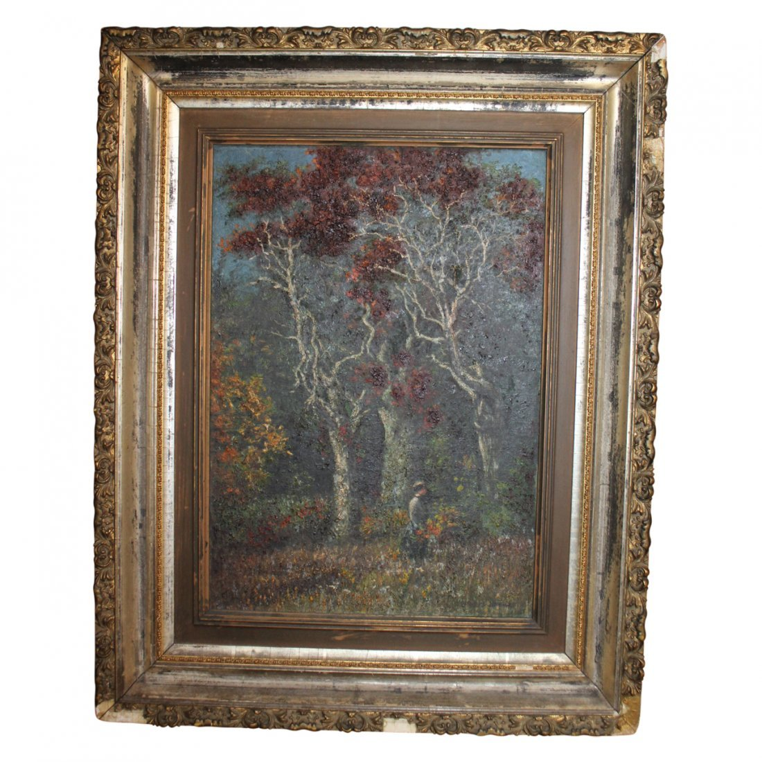 Oil Painting of a Forrest Signed Illegibly
