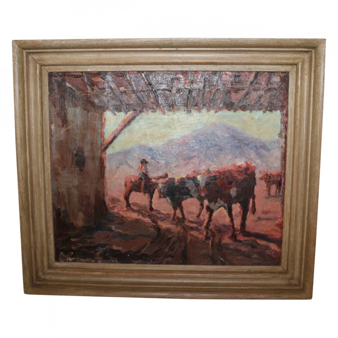 Painting of Cowboy with Cows Signed illegibly