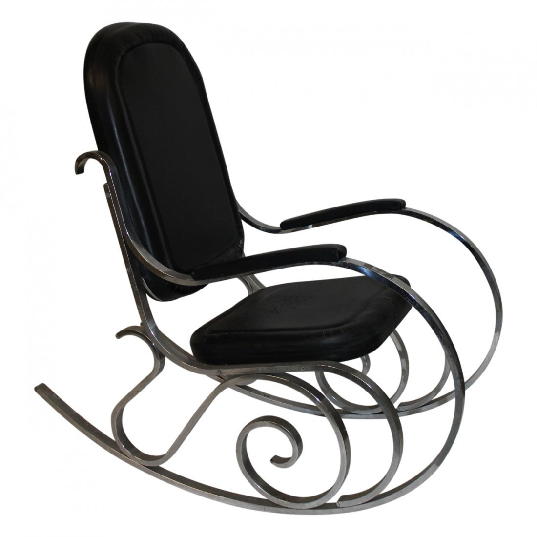 Maison Jansen Black Vinyl and Chrome Rocking Chair 1970