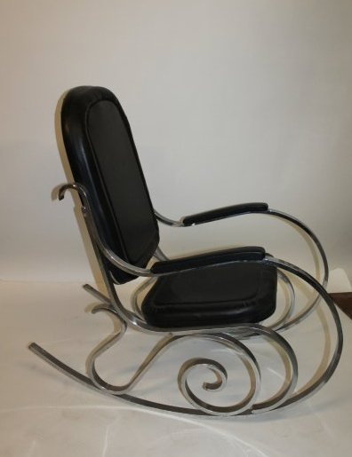 Maison Jansen Black Vinyl and Chrome Rocking Chair 1970 - 2