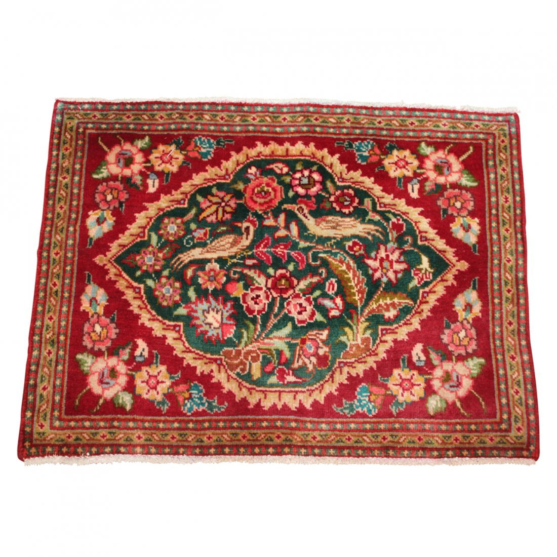 Small Persian Rug with Bird Motif