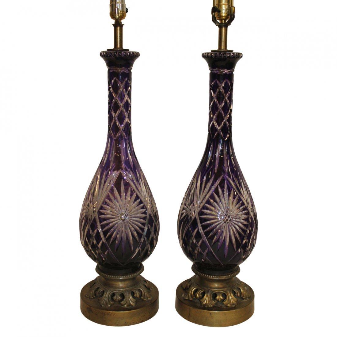 Pair Bohemian Cut Crystal Amethyst Table Lamps