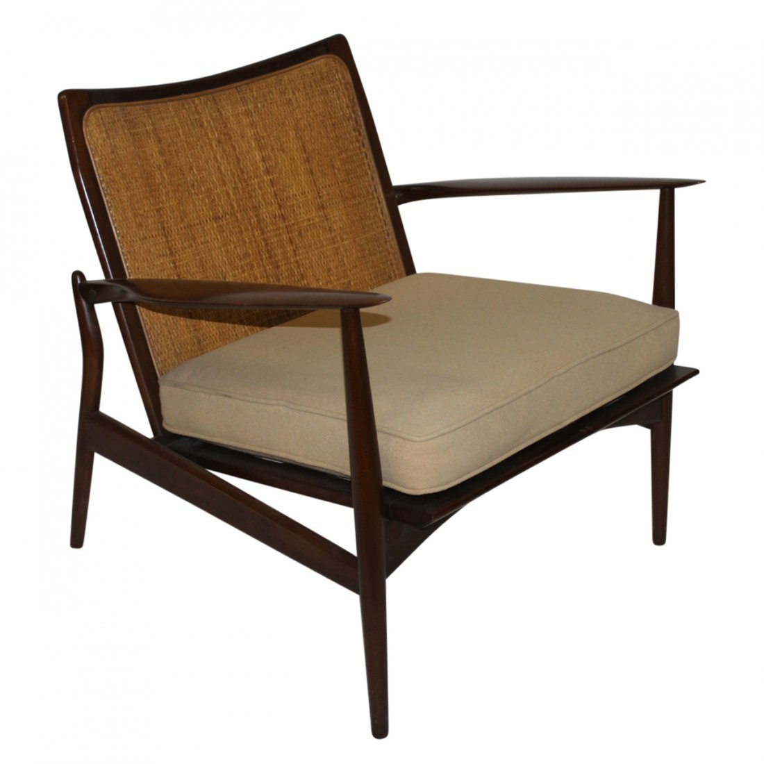 Mid Century Modern Lounge Chair Rattan and Wood