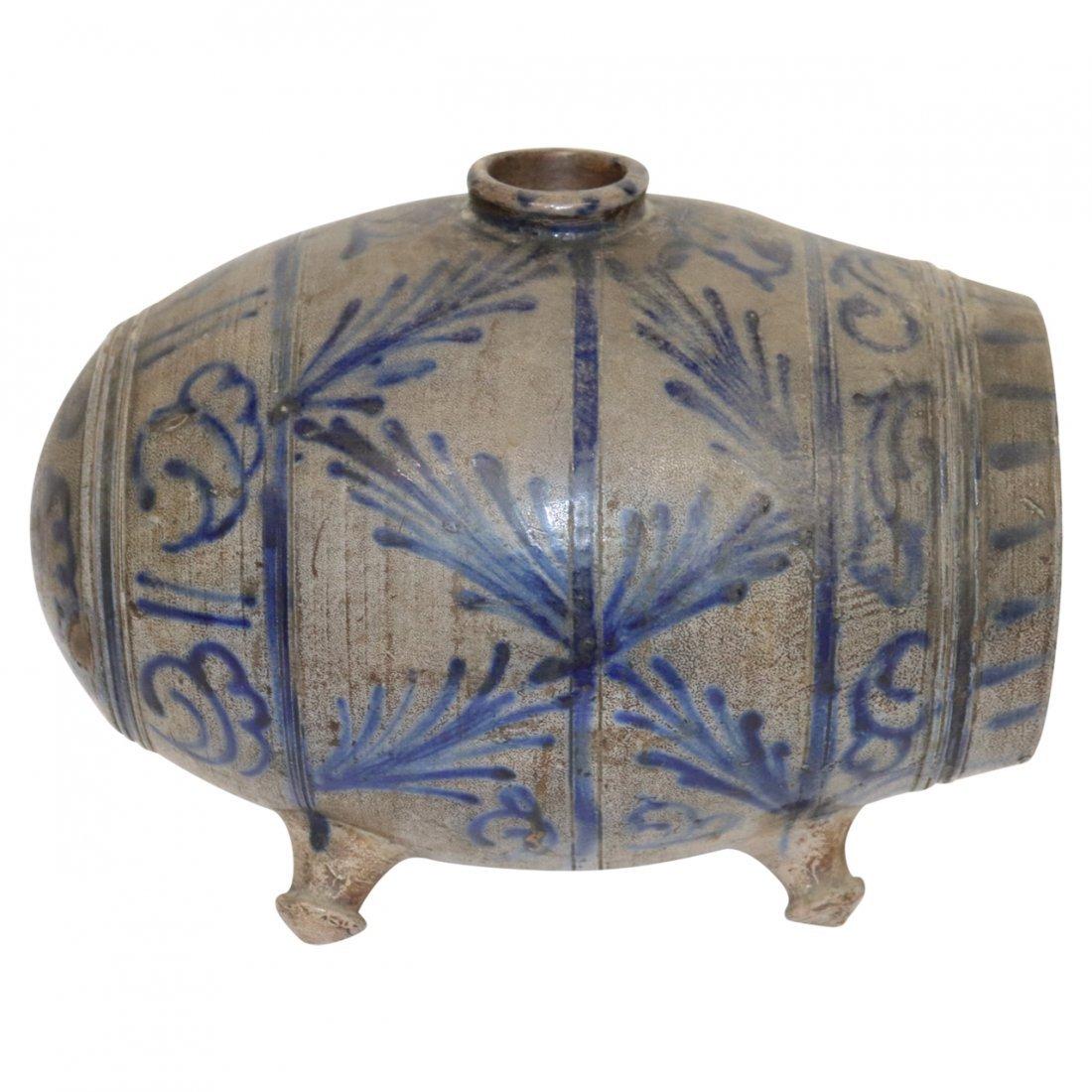 Stoneware Vessel Barrel Extensive Blue Decoeration
