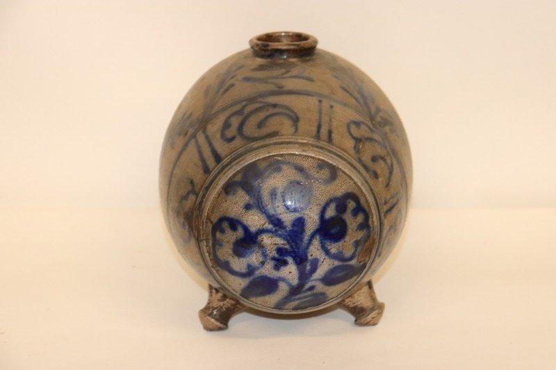 Stoneware Vessel Barrel Extensive Blue Decoeration - 2