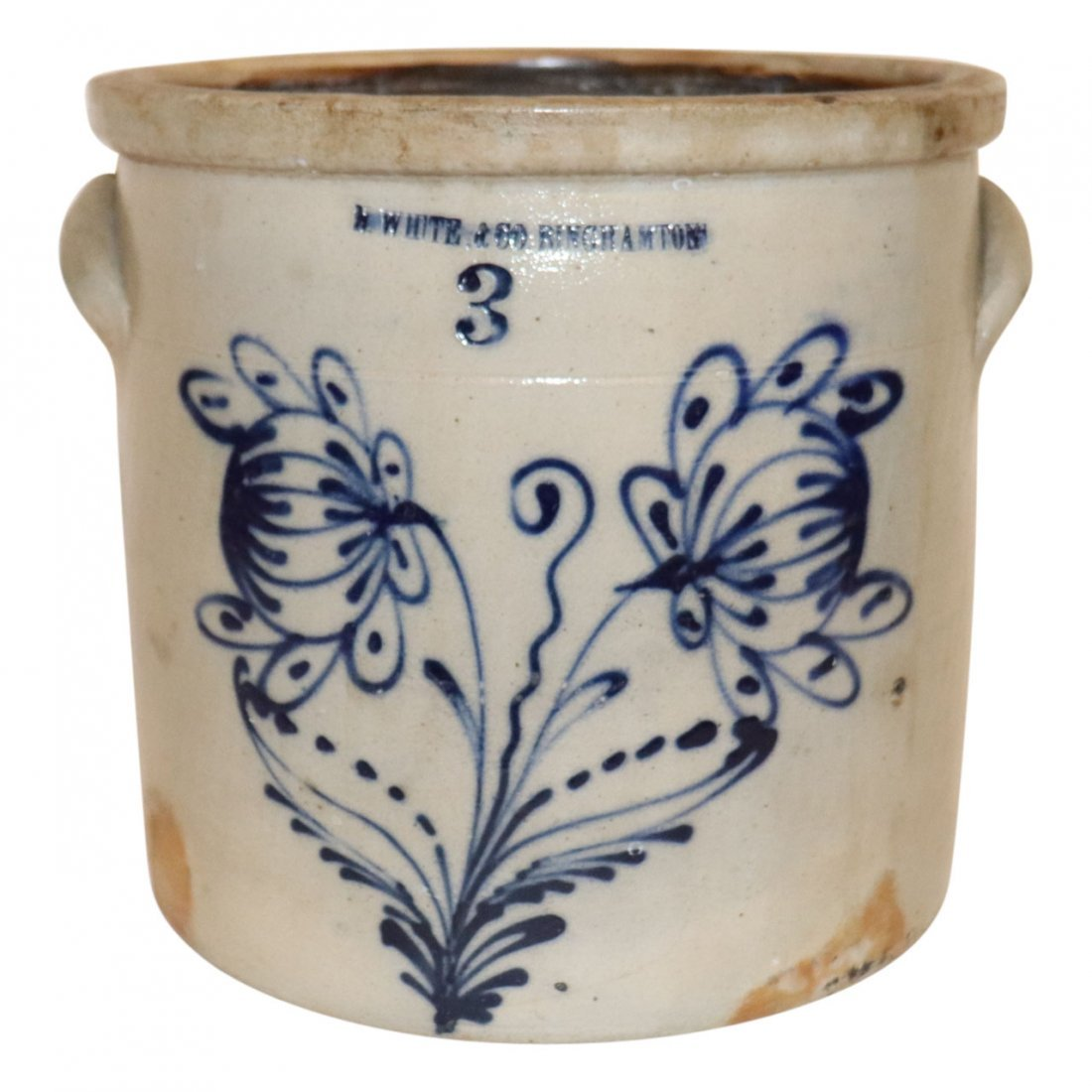 Stoneware Crock Blue Flowers N White and Co. NY