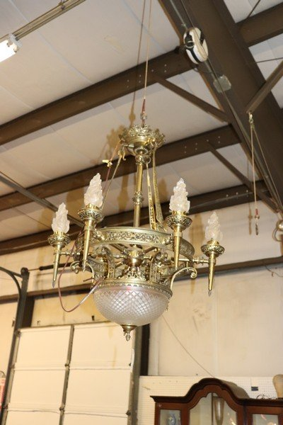 Large Antique Bronze and Frosted Glass Chandelier