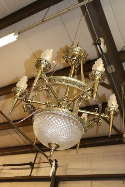 Large Antique Bronze and Frosted Glass Chandelier - 2