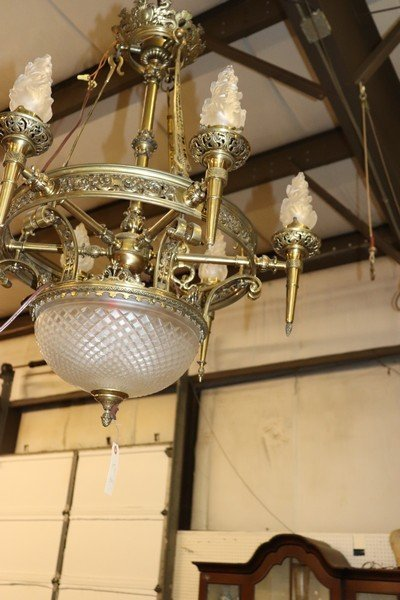 Large Antique Bronze and Frosted Glass Chandelier - 3