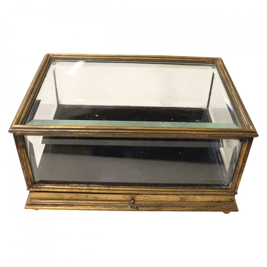 Fine Antique Bronze and Glass Casket