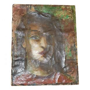 Small Antique Oil Portrait Signed Illegibly