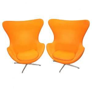 """Pair of Arne Jacobsen for Fritz Hansen \""""Egg\"""" Chair"""