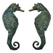 Pair Mid Century Gilt Enamel Seahorses Mendoza