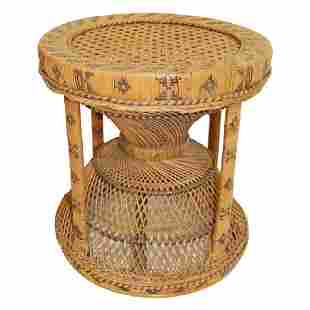 Mid Century Modern Rattan Table Stool