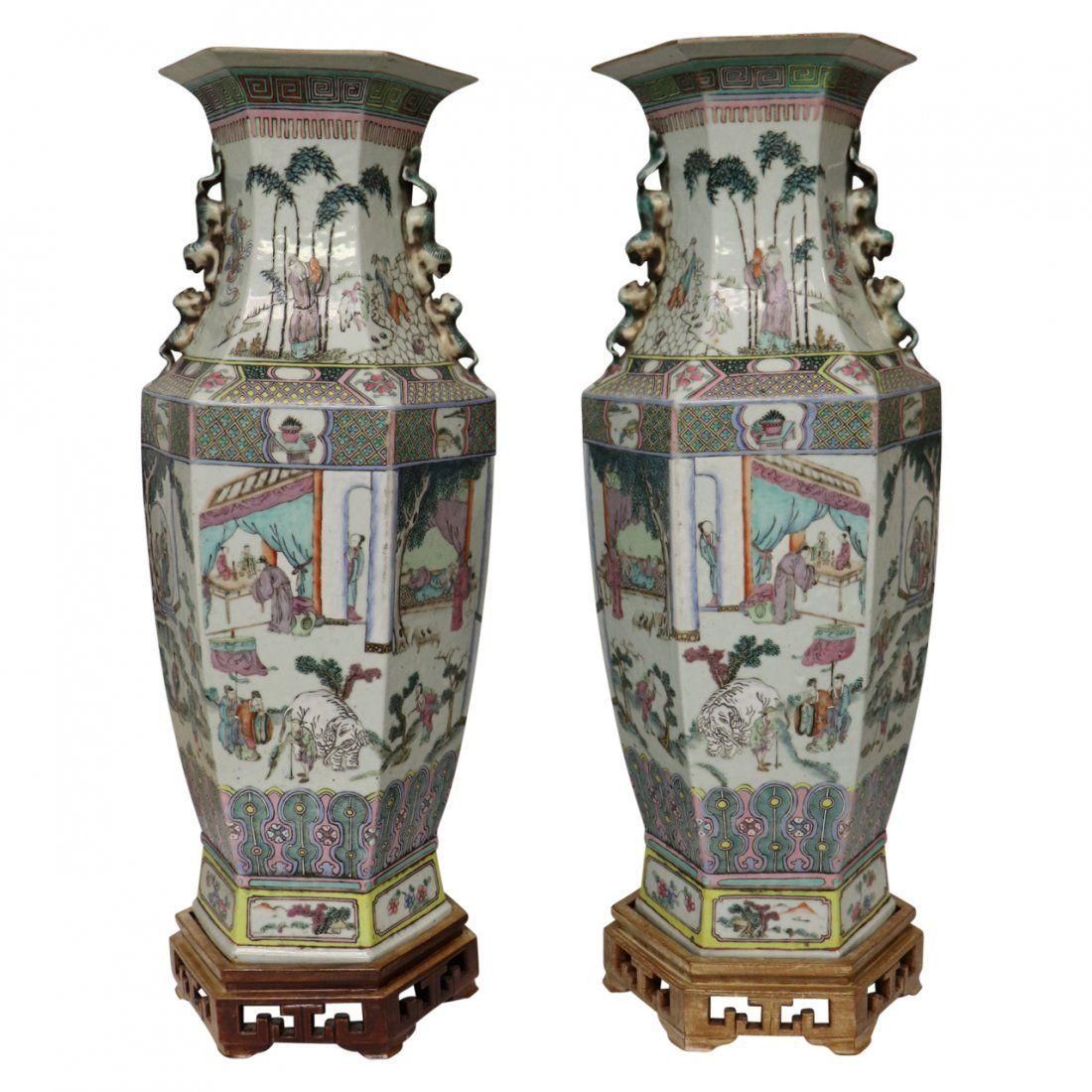 Pair of Chinese Porcelain Canton Famille Verte Vases