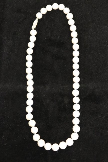Fine String of 12 MM Pearls With Gold Clasp