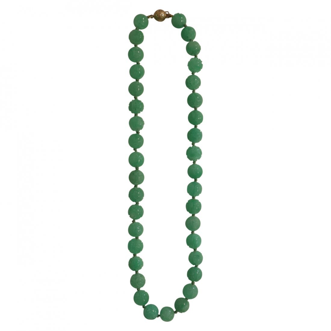 Fine Emerald Green Peking Glass and Gold Necklace