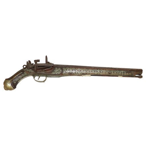 Antique Turkish Brass Inlay Flintlock Gun