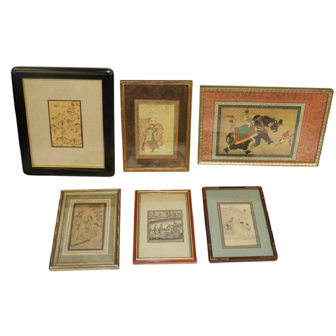 6 Antique Persian Drawings or Prints