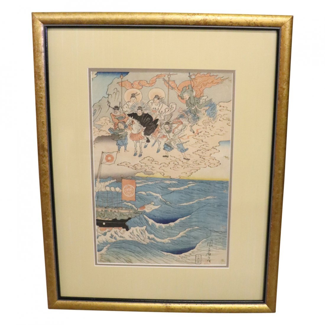 Antique Japanese Woodblock Print of Warriers