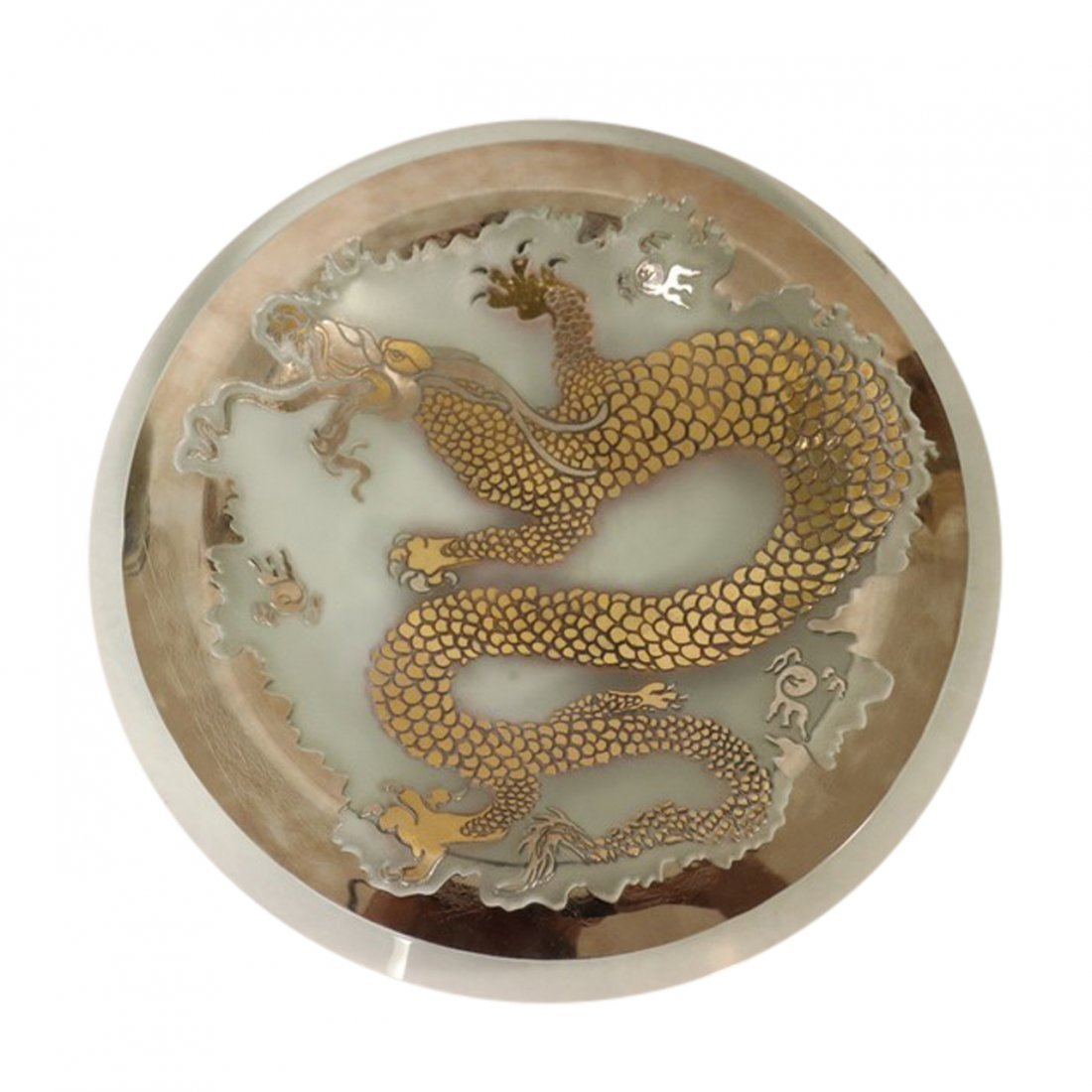 Art Glass Bowl with Dragon by Salvatore Polizzi