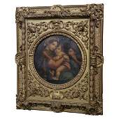 Antique Oil Painting on Canvas of Madonna & Child