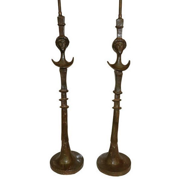 Pair of Bronze Lamps in the Manner of Giacometti