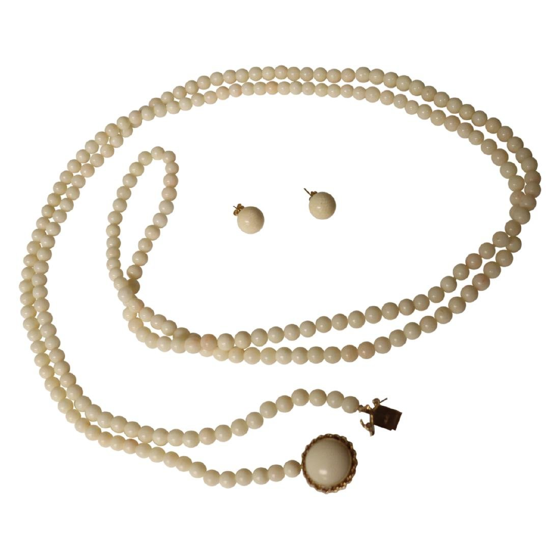 14k Coral Bead Necklace w/ Earrings