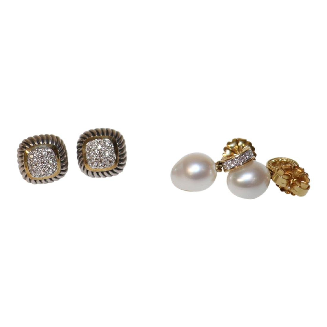 2 Pairs Diamond 18k Gold and Pearl Earrings
