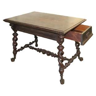 ANTIQUE CLAW FOOT TABLE BY THE MERKLEN BROTHERS