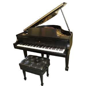 STEINWAY SATIN BLACK BABY GRAND PIANO