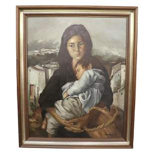 PAINTING MOTHER CHILD SIGNED JUAN ARROYO