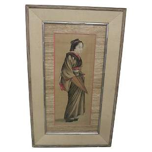 LARGE JAPANESE WATERCOLOR PAINING OF A GEISHA GIRL