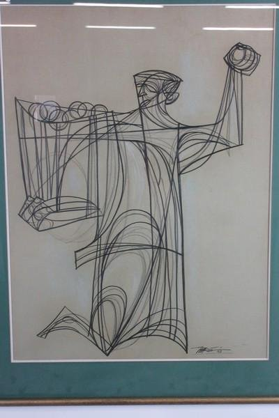 Modernist Drawing Signed Dated 1963