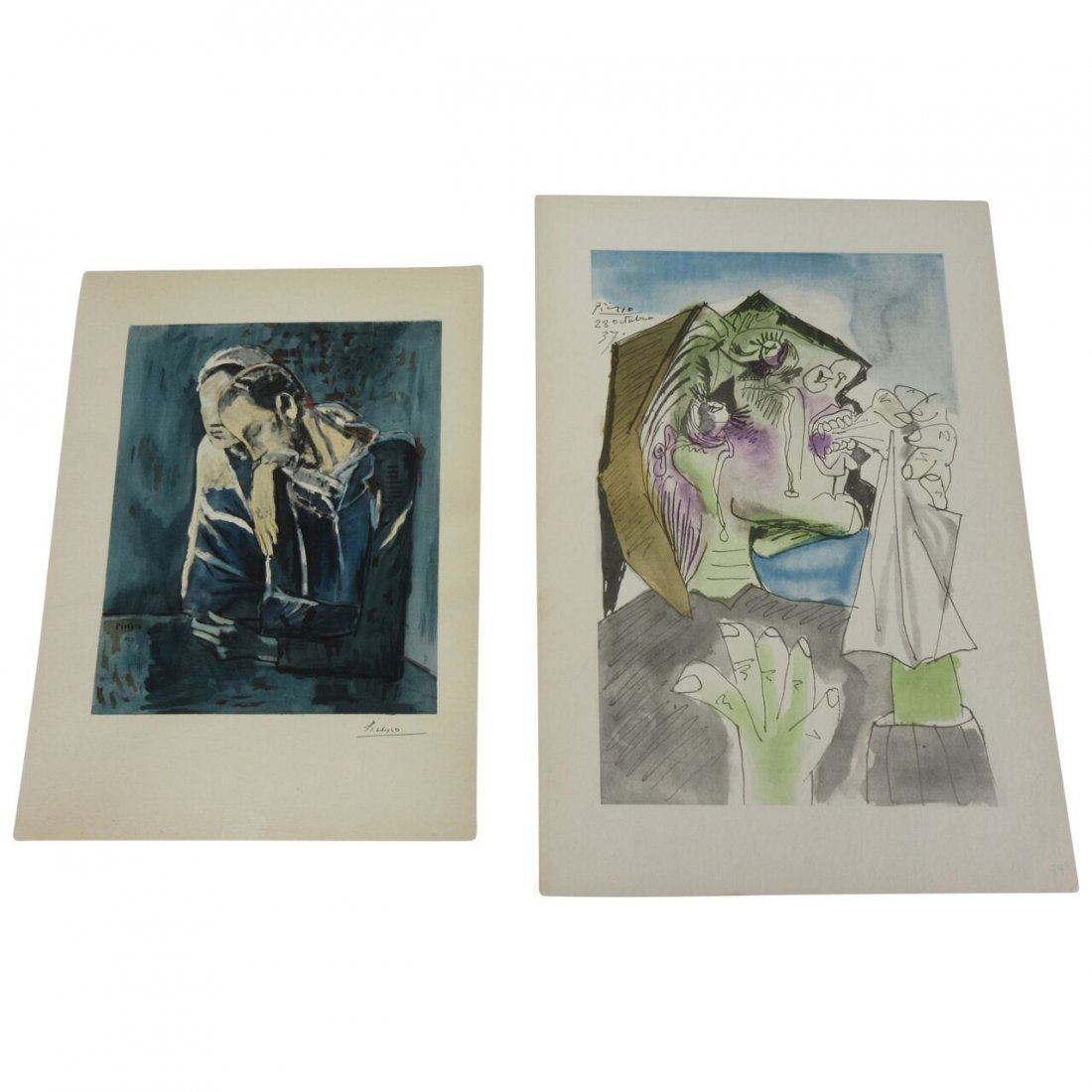 Two Picasso lithographs signed in plate. Measuring 11 x