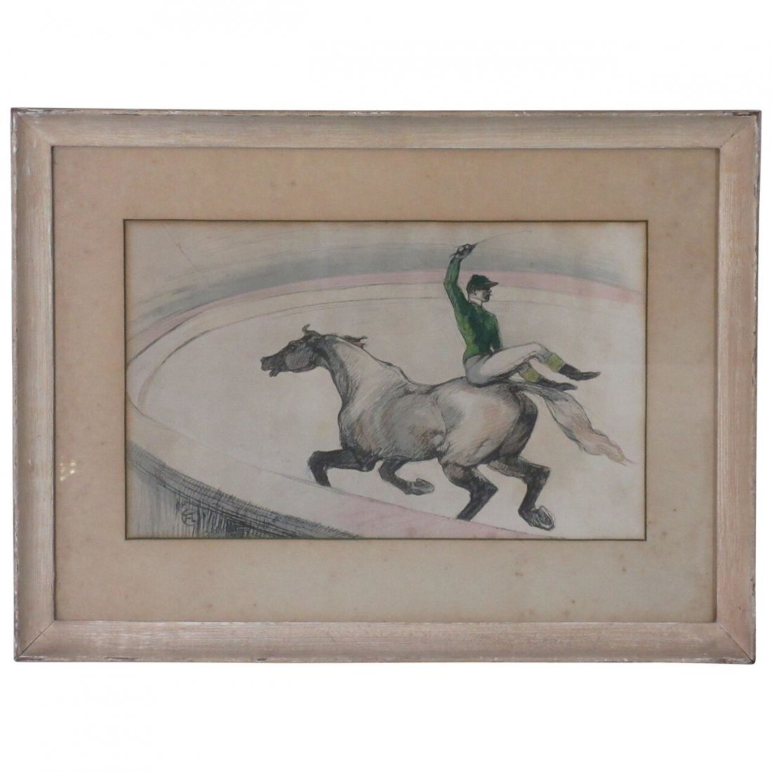 Toulouse-Lautrec circus lithograph on cardboard glued