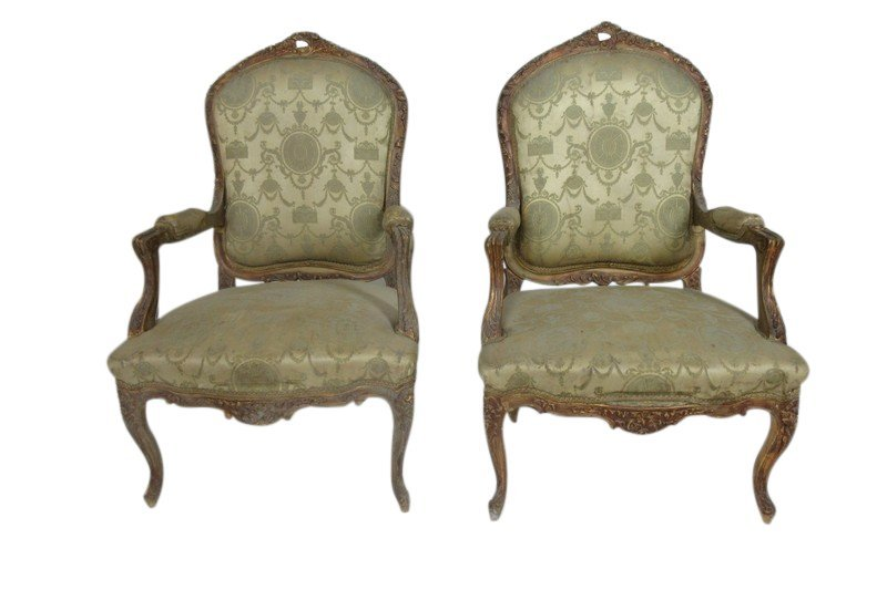 Pair of French Style Louis XV Open Arm Chairs covered