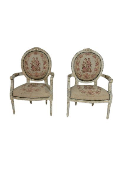 Pair of Louis XVI Style Tapestry Chairs