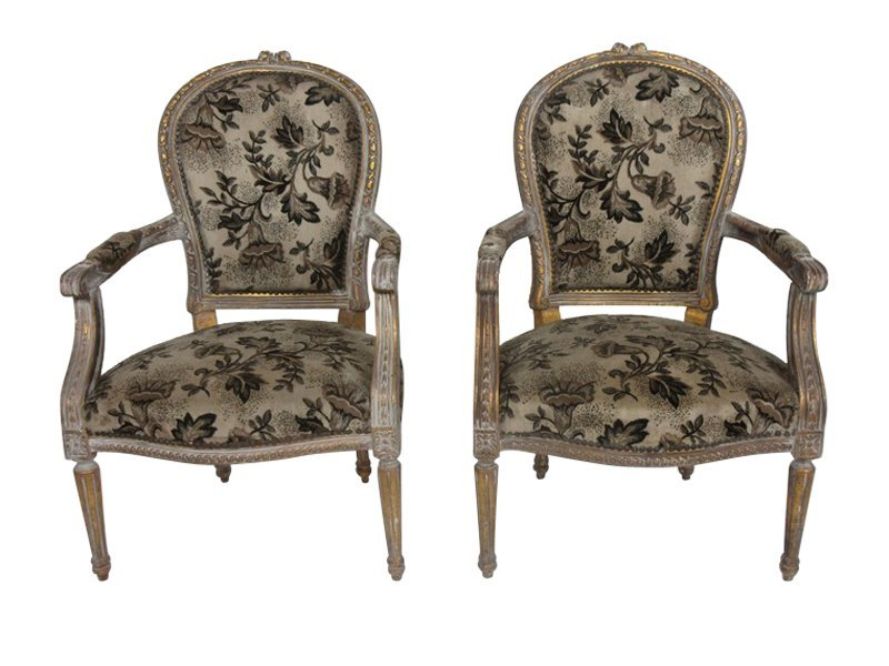 Fine Pair of French Louis XVI Style Floral Chairs