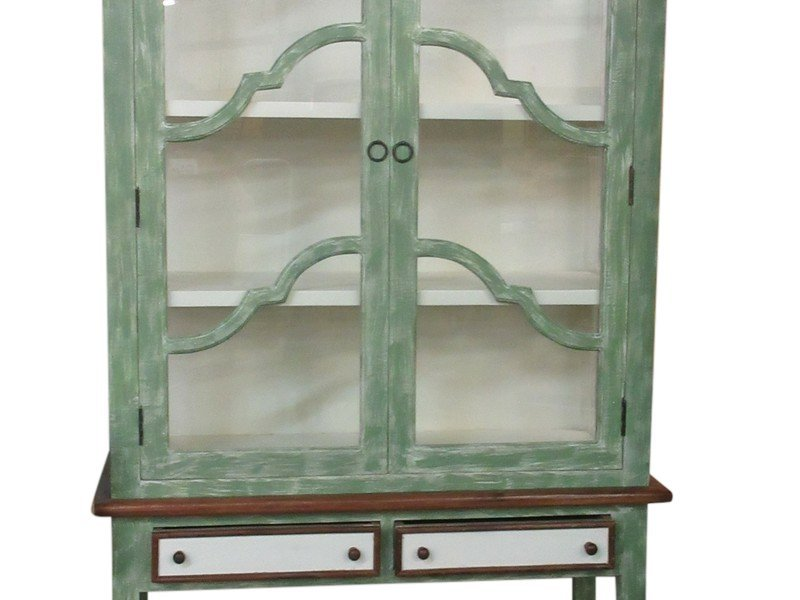 Large French style green and white painted display