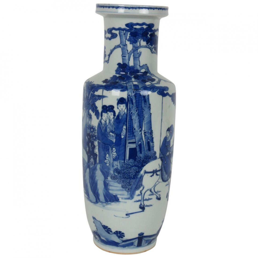 Period fine antique tall chinese blue and white vase