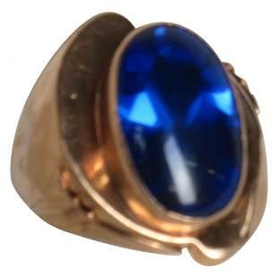Fine 18K deep cornflower Blue Spinel Ring Antique