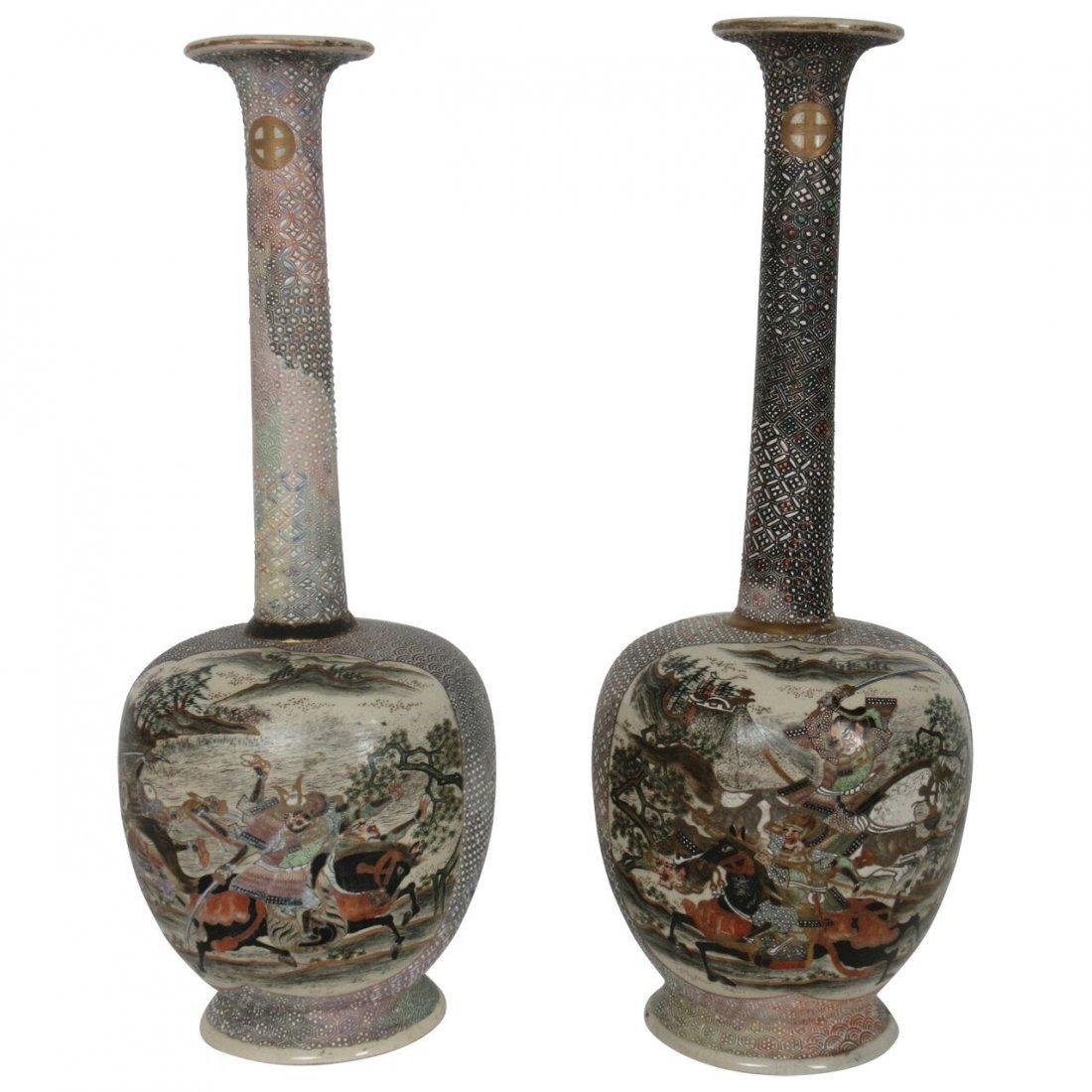Fine Pair of Japanese Edo Period Bottle Vases