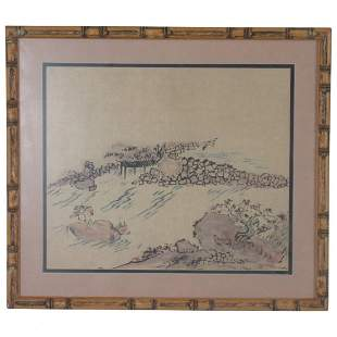 Antique Japanese watercolor of a man crossing a river
