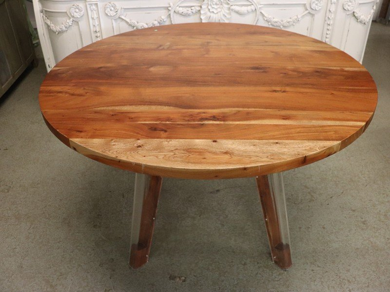 Modern Round Wood Dining Table with Acrylic Legs