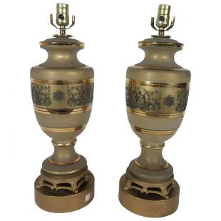 Pair of Hollywood Regency Glass Lamps
