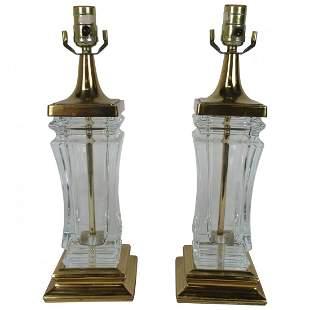 Pair of Cofrac Hollywood Regency Glass Lamps