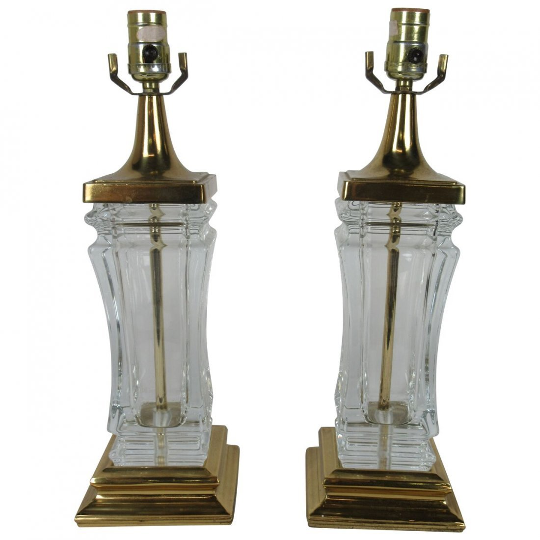 Fine pair of vintage Hollywood Regency style brass and