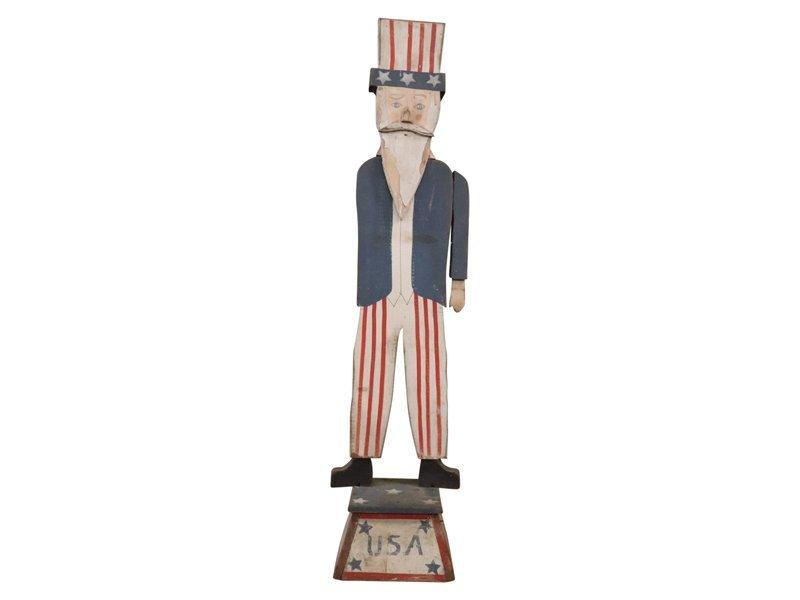 Vintage folk art carving of Uncle Sam. Measuring 54